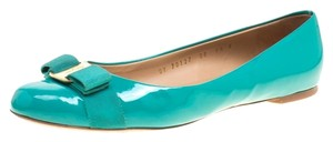 Salvatore Ferragamo Patent Leather Green Flats