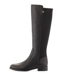Tory Burch Wide Calf Leather Stretchy Black Boots