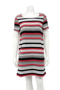 cupcakes and cashmere Striped Tweed Pockets Tunic Shift Dress
