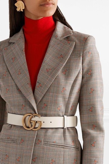 Gucci NEW GUCCI 70 GG WHITE GOLD LEATHER LOGO BELT NEW Image 1