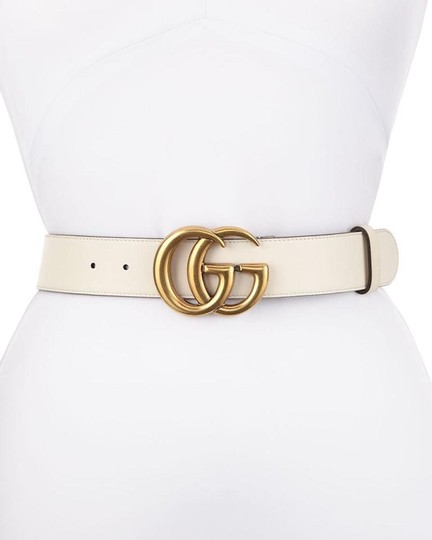 Gucci NEW GUCCI 70 GG WHITE GOLD LEATHER LOGO BELT NEW Image 5