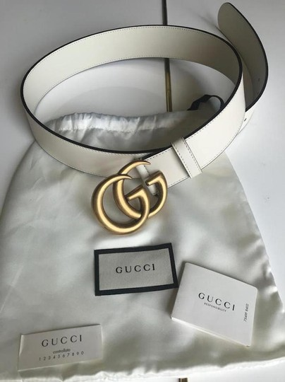 Gucci NEW GUCCI 65 GG WHITE GOLD LEATHER LOGO BELT NEW 65 Image 5