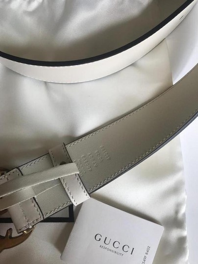 Gucci NEW GUCCI 65 GG WHITE GOLD LEATHER LOGO BELT NEW 65 Image 6