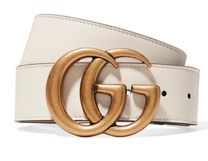 Gucci NEW GUCCI GG WHITE GOLD LEATHER LOGO BELT NEW 65