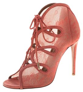 Aquazzura Mesh Suede Lace Leather Pink Boots