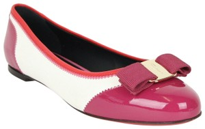 Salvatore Ferragamo Women's Varina White/Pink/Red Patent Leather White/Pink/Red Flats