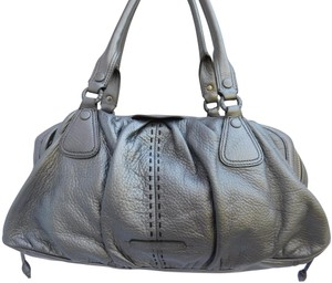 Cole Haan Vintage Leather Multi-compartments Satchel in PEWTER