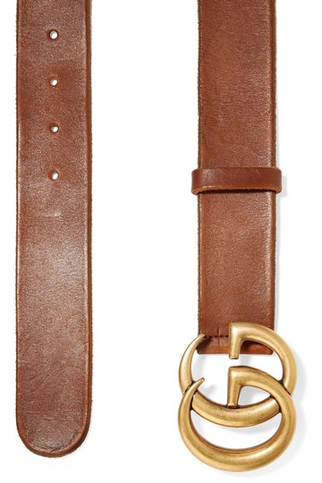 Gucci NEW 75 GUCCI BROWN LEATHER GG GOLD BELT THICK NEW Image 2