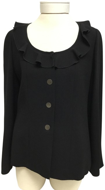 Item - Black With Ruffle Trim Open Collar Jacket Size 8 (M)