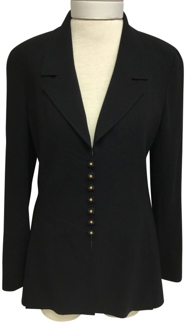 Item - Black With and Gold Logo Buttons Jacket Size 8 (M)