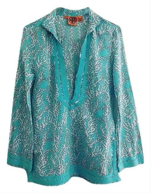 Preload https://img-static.tradesy.com/item/25934209/tory-burch-blue-turquoise-coral-print-tunic-size-6-s-0-1-650-650.jpg