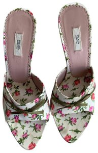Prada white with pink peonies or roses - a green bow and pink leather on the insole Sandals