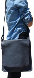 Marc by Marc Jacobs Foldover Cross Body Triple Stitch Leather Grey Multi Messenger Bag