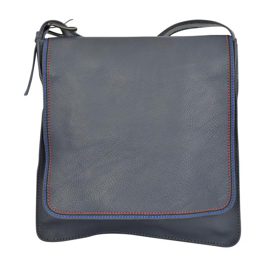 Marc by Marc Jacobs Foldover Cross Body Triple Stitch Leather Grey Multi Messenger Bag Image 4
