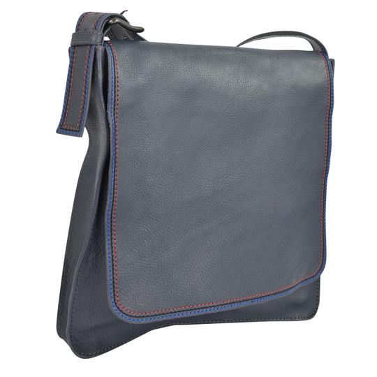 Marc by Marc Jacobs Foldover Cross Body Triple Stitch Leather Grey Multi Messenger Bag Image 5