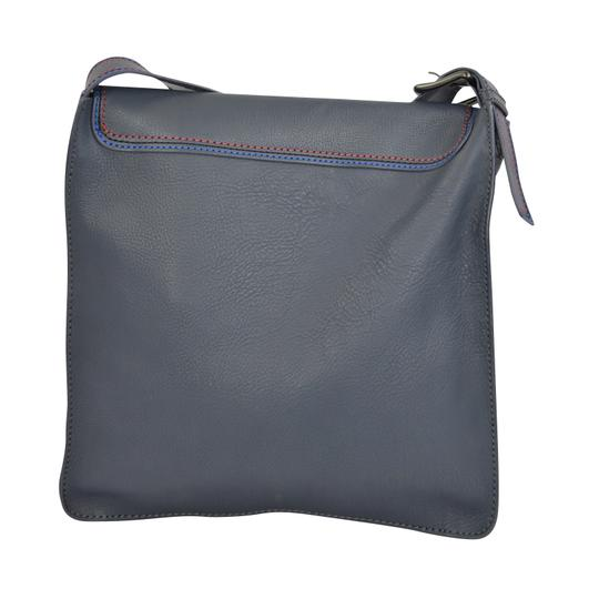 Marc by Marc Jacobs Foldover Cross Body Triple Stitch Leather Grey Multi Messenger Bag Image 6
