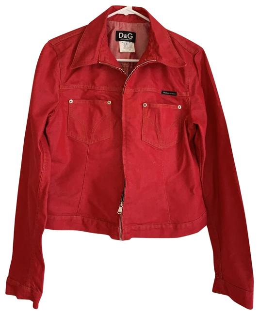 Item - Red Dolce and Gabbana Jeans Jacket Size 12 (L)