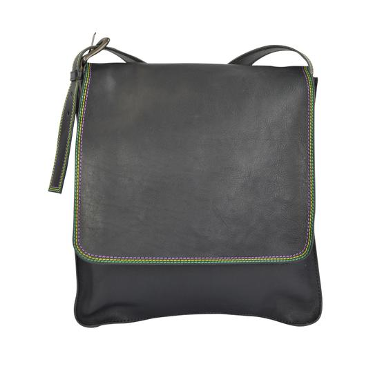 Marc by Marc Jacobs Foldover Cross Body Triple Stitch Leather Purple Grey Messenger Bag Image 3