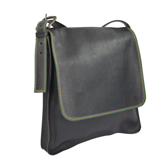 Marc by Marc Jacobs Foldover Cross Body Triple Stitch Leather Purple Grey Messenger Bag Image 4