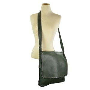 Marc by Marc Jacobs Cross Body Foldover Triple Stitch Leather Green Messenger Bag