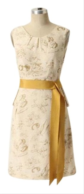 Item - Ivory/ Gold Open Back Mid-length Short Casual Dress Size 2 (XS)