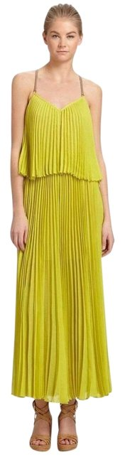 Item - Yellow Dark Lime Joelle Tiered Pleated Xxs Long Casual Maxi Dress Size 00 (XXS)