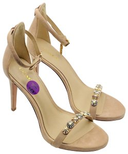 Coach Rose Gold Silver Stiletto Taupe Sandals
