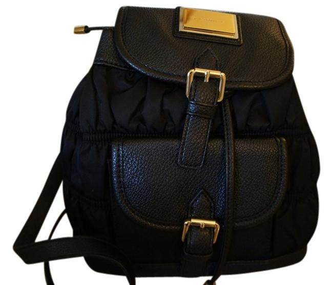 Item - Black Cloth and Leather Backpack