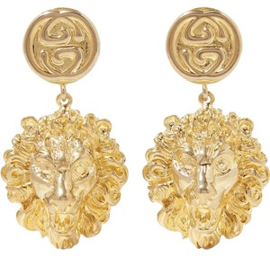 Gucci logo lion gold tone earrings
