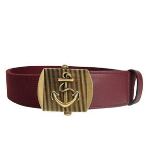 Gucci Burgundy Military Fabric Anchor Brass Buckle Belt 375191 6148 Groomsman Gift