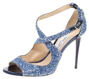 Jimmy Choo Ankle Strap Leather Blue Sandals