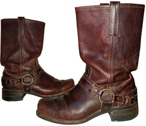 Frye Motorcycle Leather Harness Cherry Brown Boots