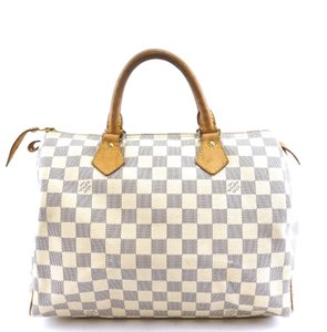 Louis Vuitton Damier Speedy Satchel in white grey