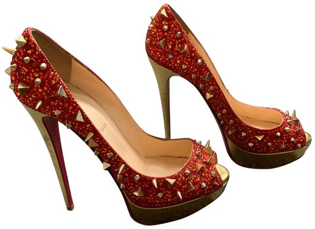Item - Red Gold Lady Peep Formal Shoes Size EU 41 (Approx. US 11) Regular (M, B)