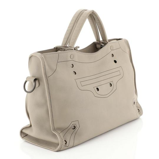 Balenciaga Blackout Leather Medium Satchel in gray Image 2