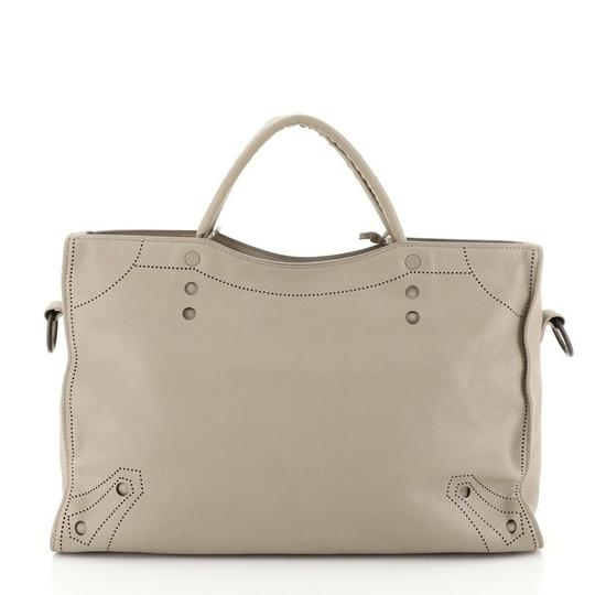 Balenciaga Blackout Leather Medium Satchel in gray Image 3