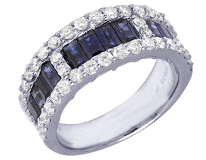 Jewelry Unlimited 14K White Gold Baguette Sapphire 2.47 CT Diamond 1.21 CT Band