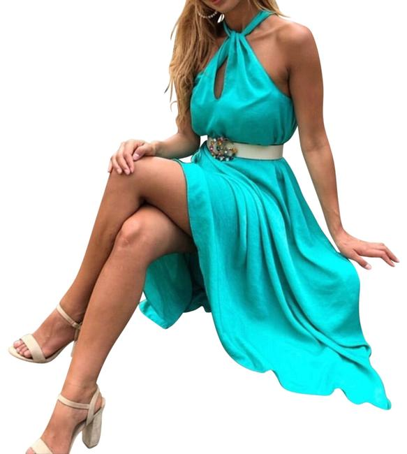 Item - Mid-green Favorite Halter Satin Effect Blogger's Long Casual Maxi Dress Size 6 (S)