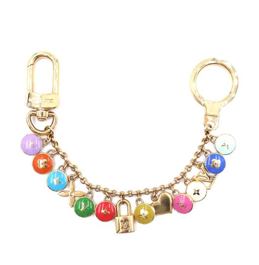 Preload https://img-static.tradesy.com/item/25935705/louis-vuitton-32166-gold-and-multicolors-ultra-rare-monogram-lock-ring-chain-for-bag-charm-0-0-540-540.jpg