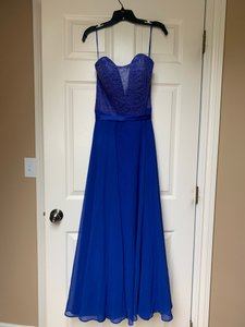 Allure Bridals Royal Blue Chiffon Lace and Satin Style 1425 Traditional Bridesmaid/Mob Dress Size 10 (M)
