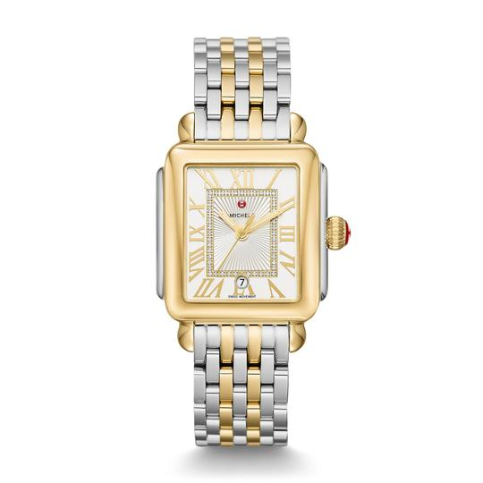 Preload https://img-static.tradesy.com/item/25935774/michele-silver-gold-deco-madison-two-tone-stainless-sunray-diamond-dial-mww06t000147-watch-0-0-540-540.jpg