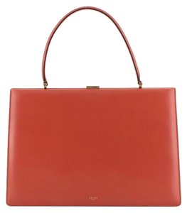 Céline Clasp Top Leather Satchel in red