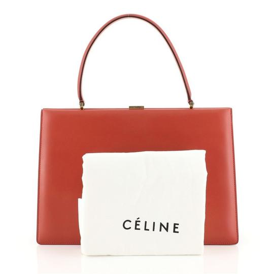 Céline Clasp Top Leather Satchel in red Image 1