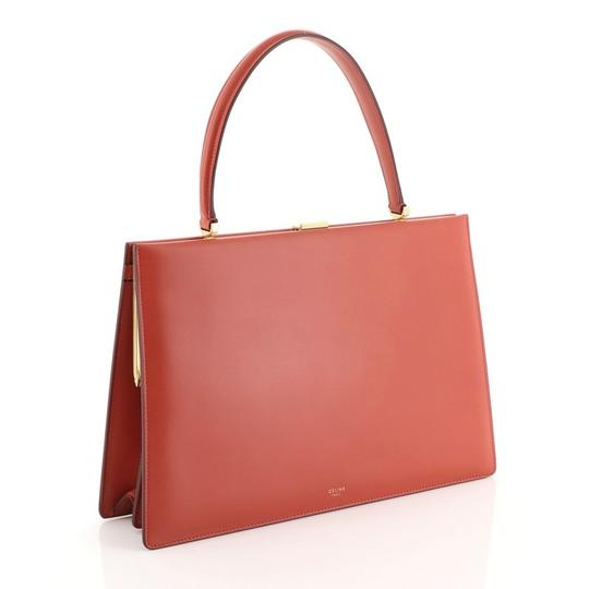 Céline Clasp Top Leather Satchel in red Image 2