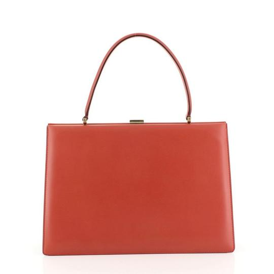 Céline Clasp Top Leather Satchel in red Image 3