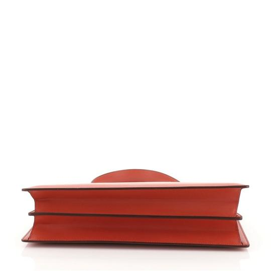 Céline Clasp Top Leather Satchel in red Image 4