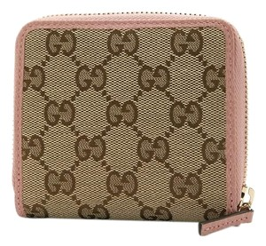 Gucci Gucci Womens Beige Pink GG Guccissima French Zip Wallet 346056