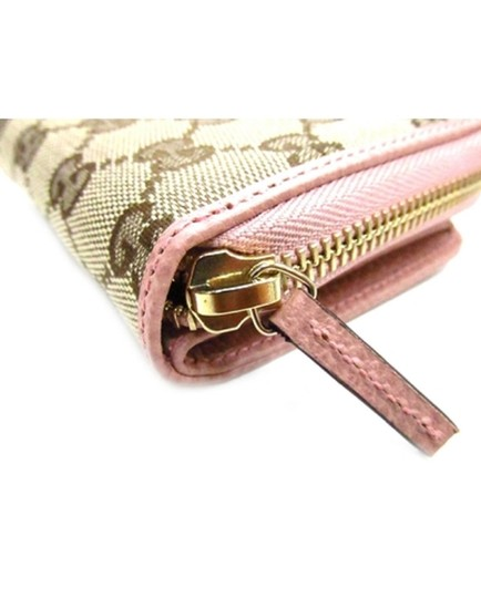 Gucci Gucci Womens Beige Pink GG Guccissima French Zip Wallet 346056 Image 1