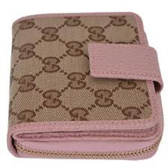 Gucci Gucci Womens Beige Pink GG Guccissima French Zip Wallet 346056 Image 2