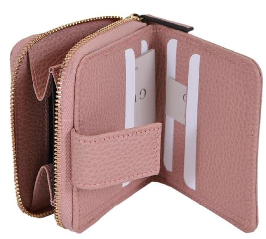 Gucci Gucci Womens Beige Pink GG Guccissima French Zip Wallet 346056 Image 3